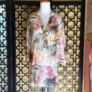 TOMMY BAHAMA FLORAL SILK BLOUSE